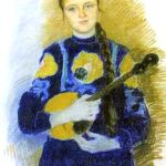 Домра в живописи-портрет