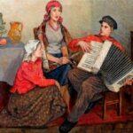 Николай Петрович Богданов-Бельский (1868-1945) Сидящие крестьянки и юный гармонист